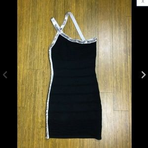 Black Silver Sequin Strappy One Shoulder Dress S